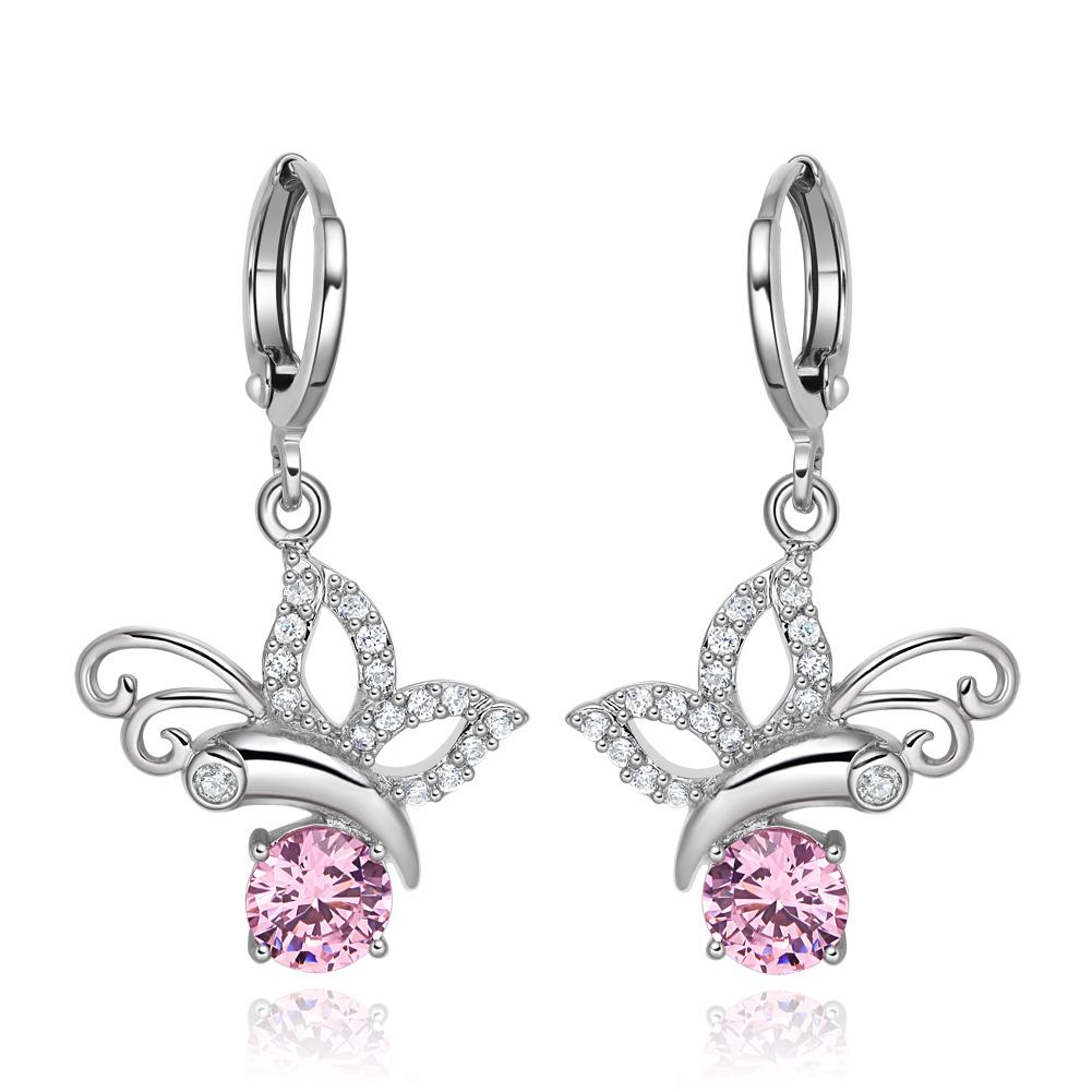 Magical Cute Butterflies Lucky Charms Silver-Tone Pink White Crystals Unique Earrings