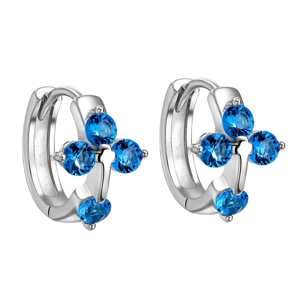 Small Beautiful Holy Cross Lucky Charms Silver-Tone Ocean Blue Sparkling Crystals Fashion Earrings