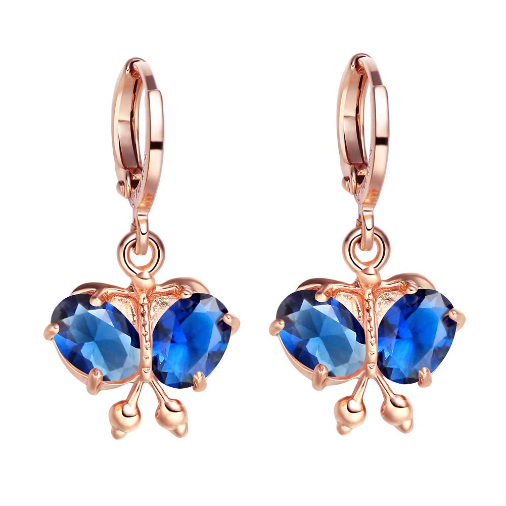 Magical Beautiful Butterflies Lucky Charms Amulets Gold-Tone Cute Royal Blue Crystals Earrings