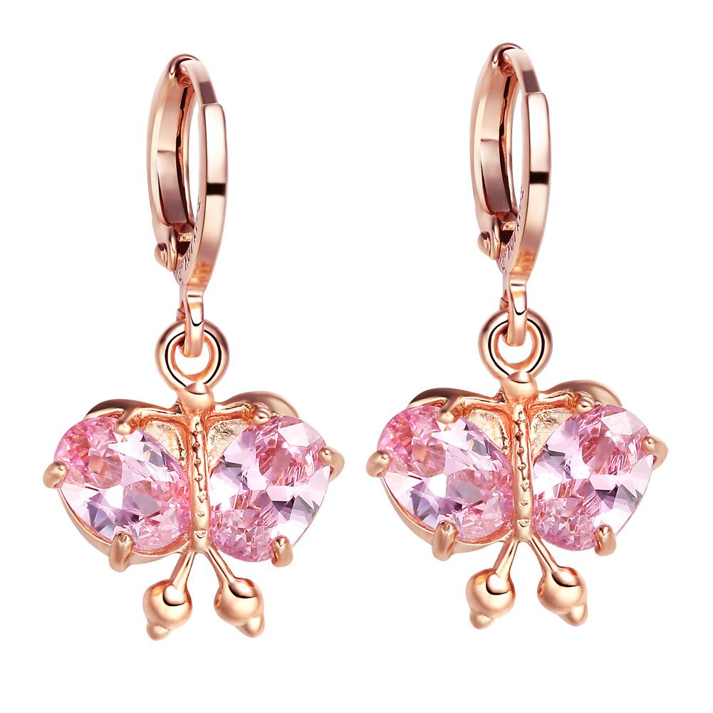 Magical Beautiful Butterflies Lucky Charms Amulets Gold-Tone Cute Sweet Pink Crystals Earrings