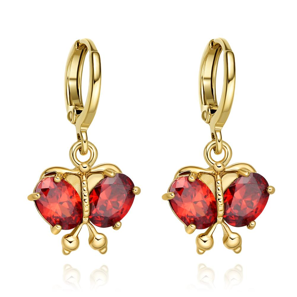 Magical Beautiful Butterflies Lucky Charms Amulets Gold-Tone Cherry Red Crystals Earrings