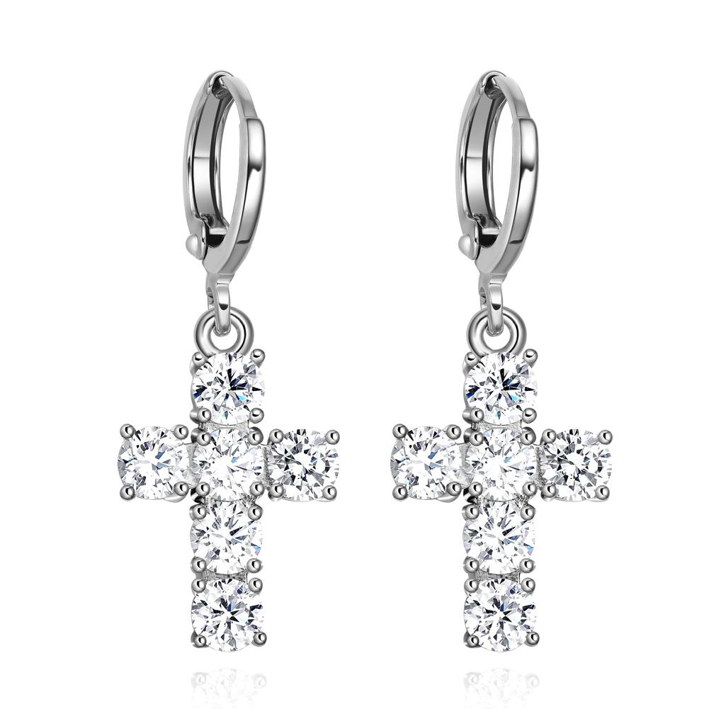 Fancy Magical Holy Cross Cute Lucky Charms Silver-Tone Positive Energy Sparkling Crystals Earrings