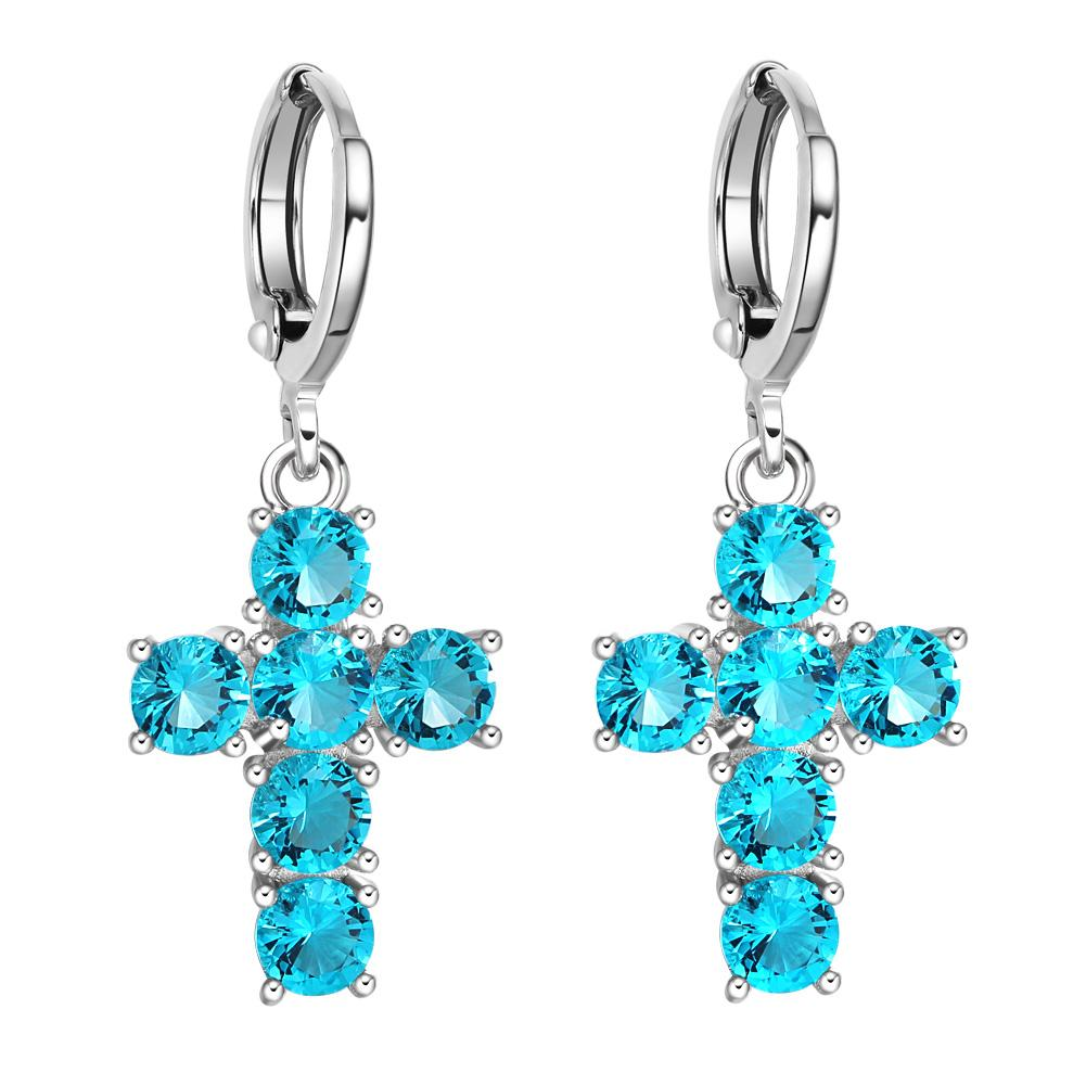 Fancy Magical Holy Cross Charms Silver-Tone Positive Energy Aqua Blue Sparkling Crystals Earrings