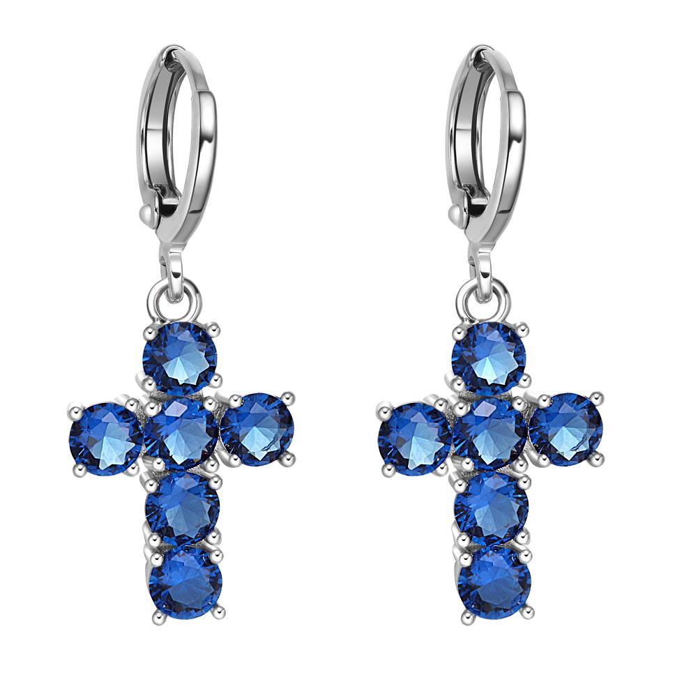 Fancy Magical Holy Cross Charms Silver-Tone Positive Energy Ocean Blue Sparkling Crystals Earrings