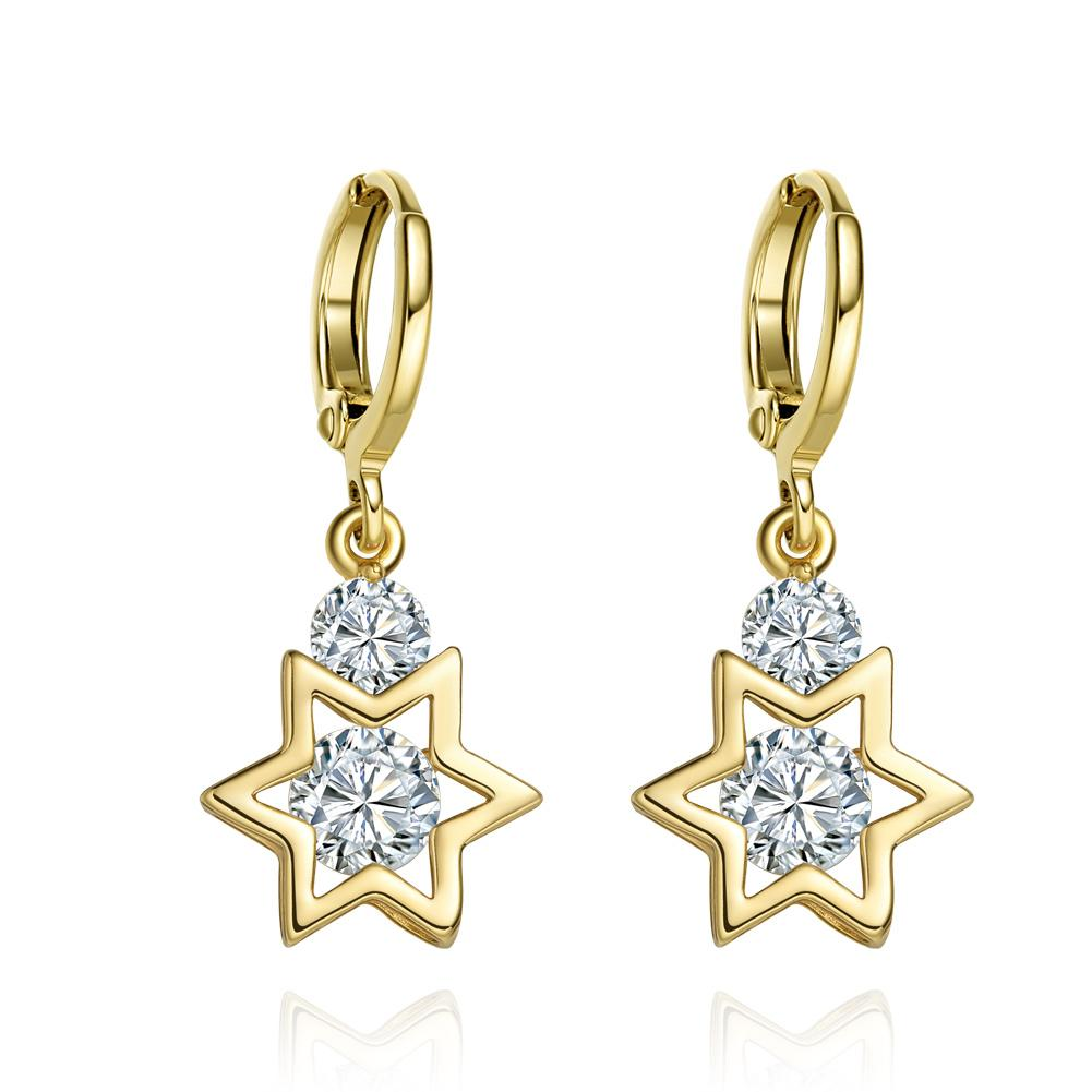 King of Solomon Gold-Tone Star of David Lucky Charms Magic Powers Crystals Amulets Earrings