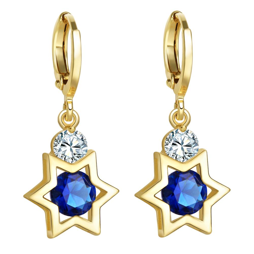 King of Solomon Gold-Tone Star of David Lucky Charms Magic Ocean Blue Crystals Amulets Earrings