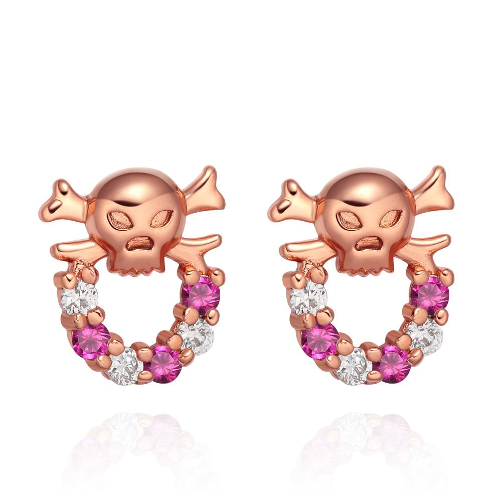 Small Cute Funky Skull Head Lucky Charms Pink Snow White Sparkling Crystals Stud Style Earrings