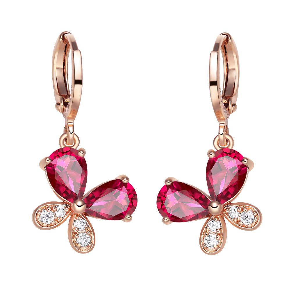 Fancy Cute Lucky Butterflies Charms Unique Gold-Tone Royal Pink Sparkling Crystals Fashion Earrings