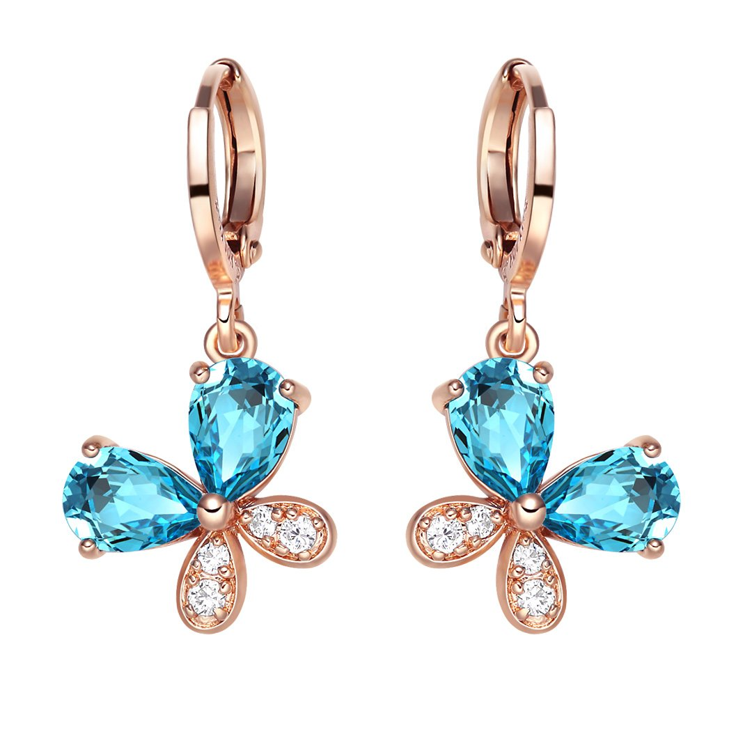 Fancy Cute Lucky Butterflies Charms Unique Gold-Tone Aqua Blue Sparkling Crystals Fashion Earrings
