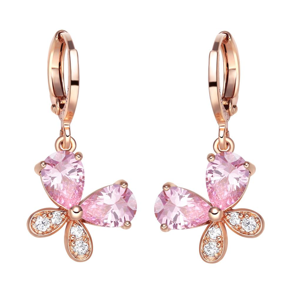 Fancy Cute Lucky Butterflies Charms Unique Gold-Tone Sweet Pink Sparkling Crystals Fashion Earrings