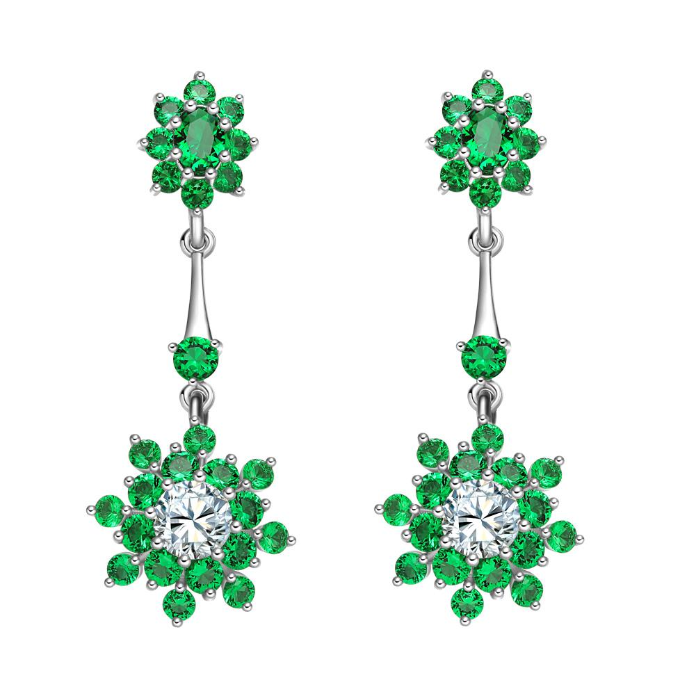 Fancy Magical Dangling Snowflake Amulets Lucky Charms Royal Green White Sparkling Crystals Earrings