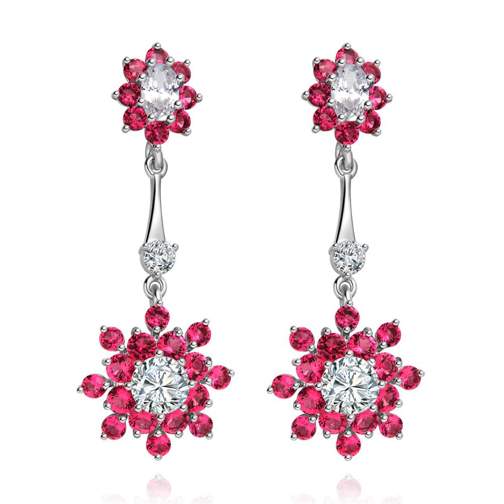 Fancy Magical Dangling Snowflake Amulets Lucky Charms Royal Pink White Sparkling Crystals Earrings