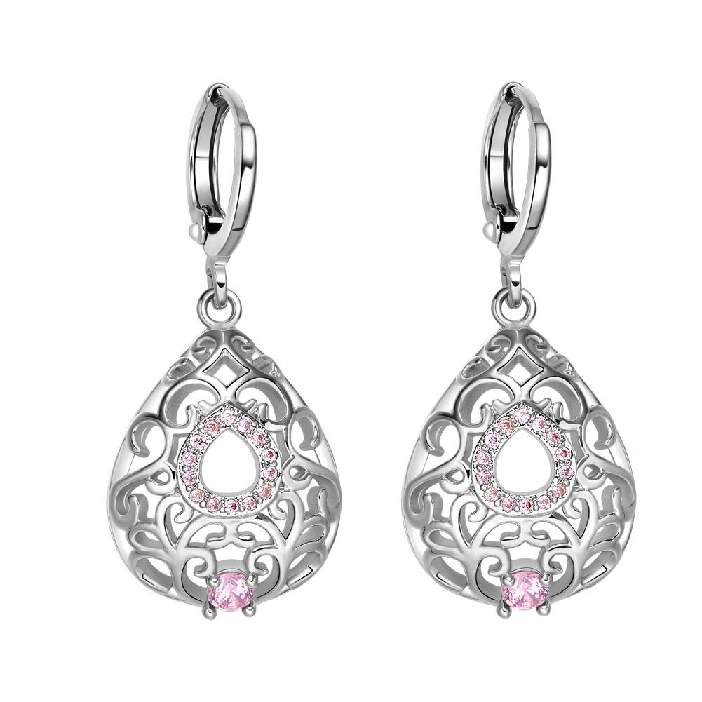 Beautiful Amazing Filigree Teardrop Lucky Charm Silver-Tone Sweet Pink Crystals Amulet Earrings