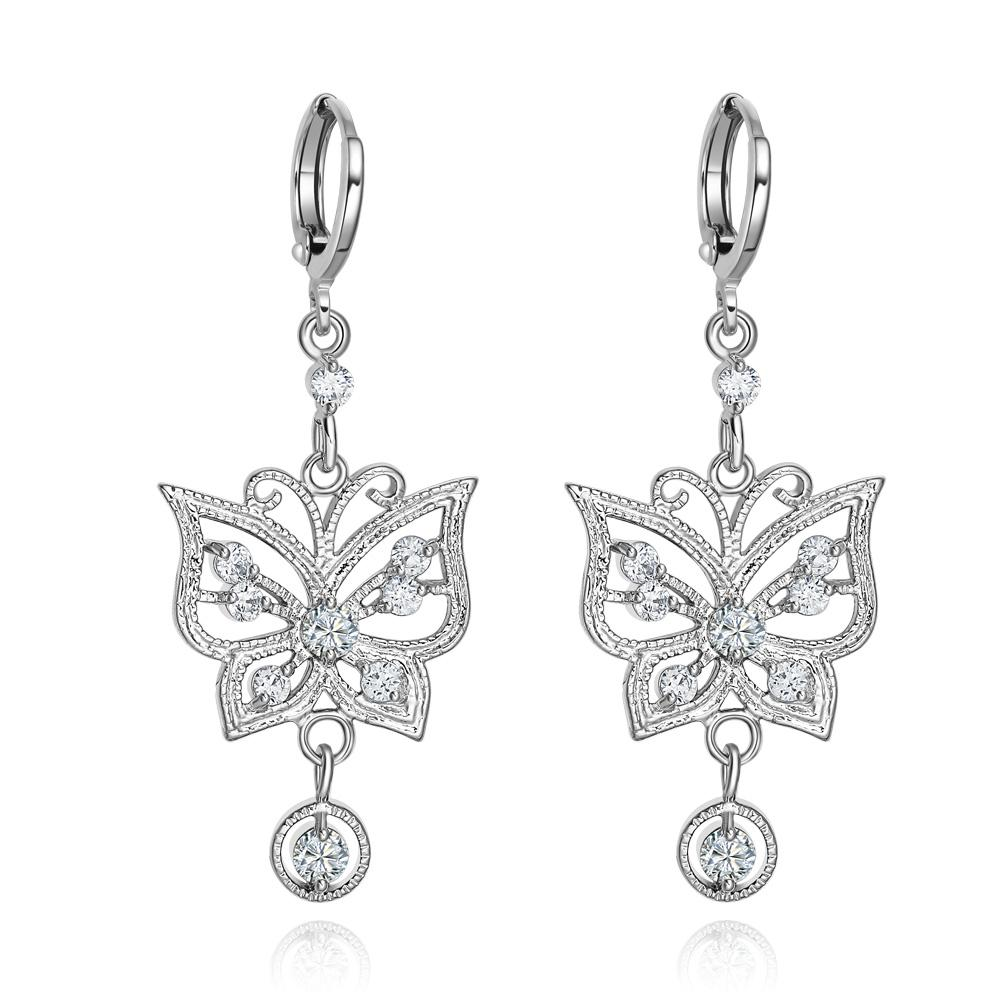 Fancy Beautiful Magic Butterflies Lucky Charms Amulets Silver-Tone White Crystals Earrings
