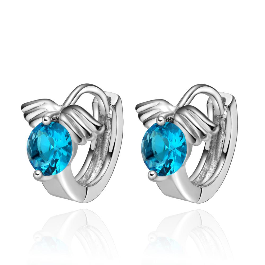 Tiny Small Cute Angel Wings Lucky Charms Sky Blue Crystals Silver-Tone Positive Energy Earrings
