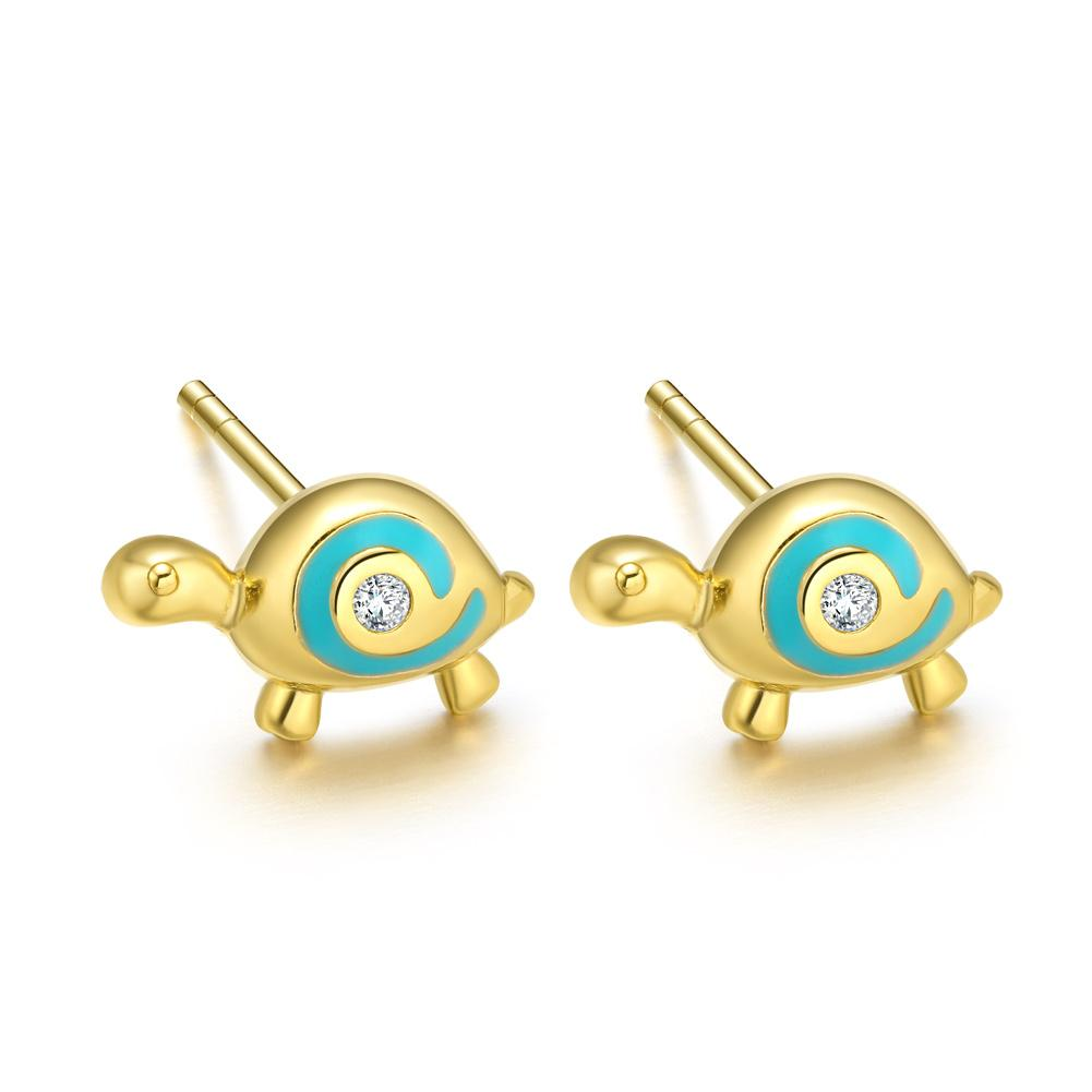 Tiny Very Cute Lucky Charm Turtles Sky Blue Accents Gold-Tone Snow White Crystals Earrings
