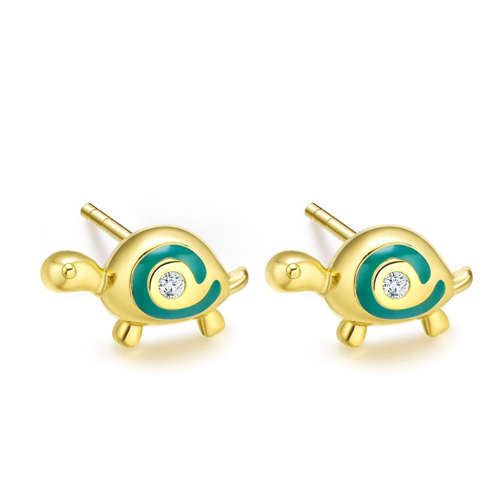 Tiny Very Cute Lucky Charm Turtles Aqua Blue Accents Gold-Tone Snow White Crystals Earrings