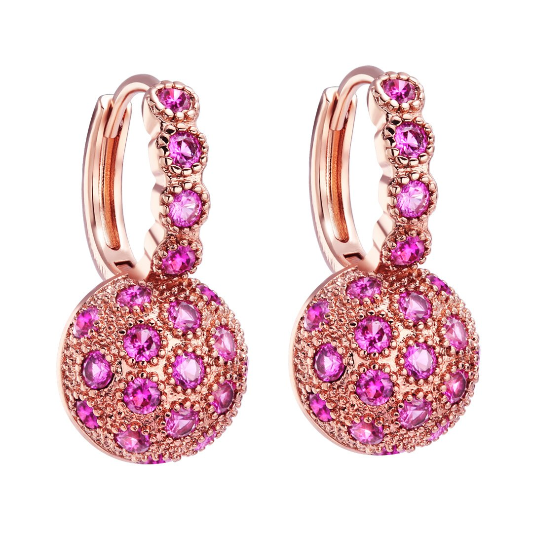 Fancy Magical Sun Moon Positive Energy Powers Gold-Tone Royal Pink Sparkling Crystal Earrings