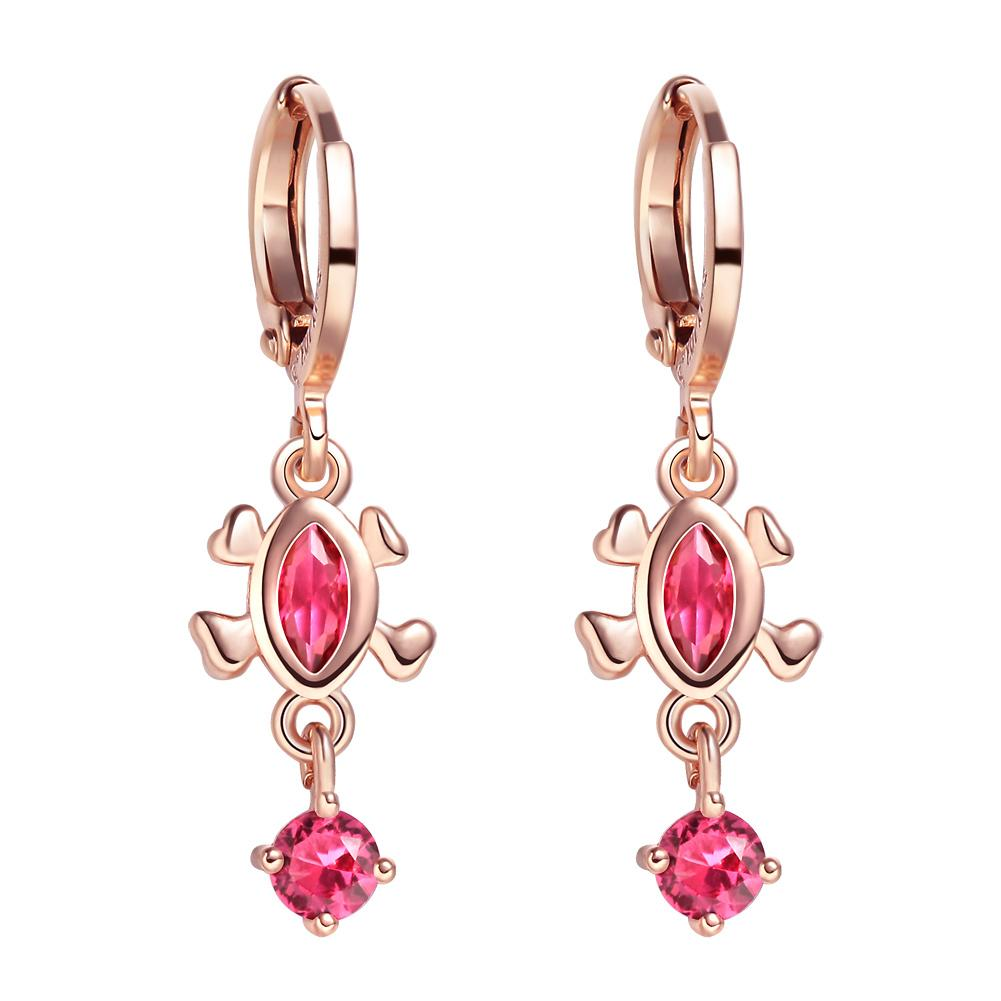 Cute Fashionable Lucky Turtle Charms Gold-Tone Royal Pink Sparkling Crystals Magic Amulets Earrings