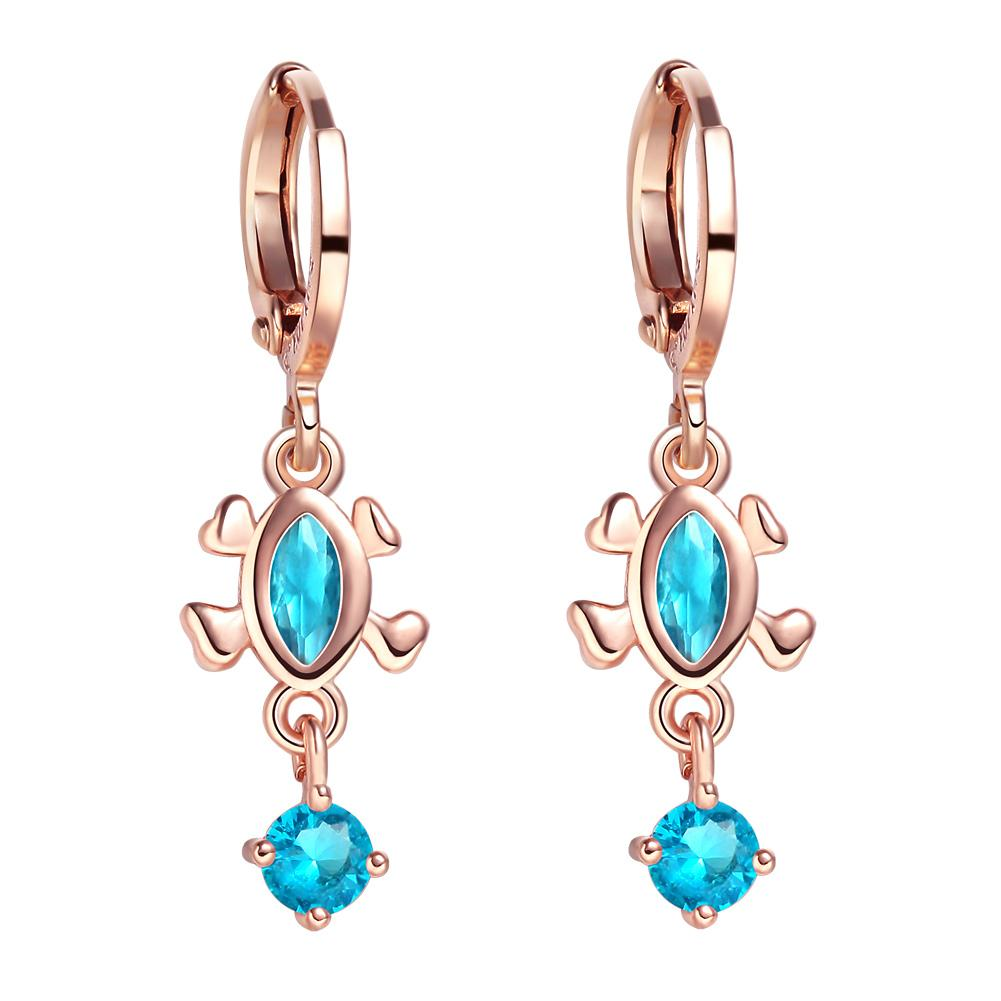 Cute Fashionable Lucky Turtle Charms Gold-Tone Aqua Blue Sparkling Crystals Magic Amulets Earrings