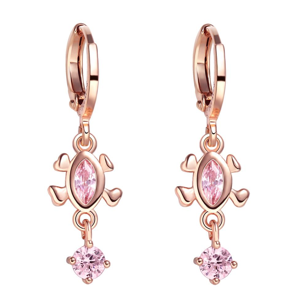 Cute Fashionable Lucky Turtle Charms Gold-Tone Sweet Pink Sparkling Crystals Magic Amulets Earrings