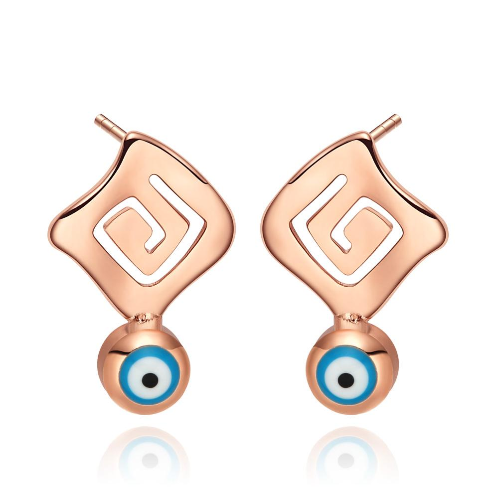 Magical Evil Eye ProtectiReflection Powers Lucky Charms Gold-Tone Sky Blue Stud Amulets Earrings