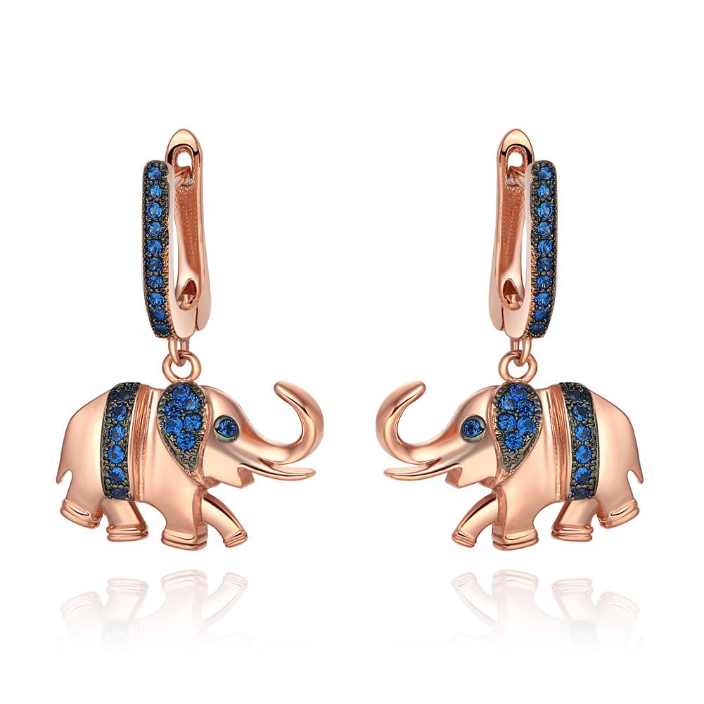 Lucky Cute Trunk Up Elephant Charms Amulets Royal Blue Sparkling Crystals Gold-Tone Earrings