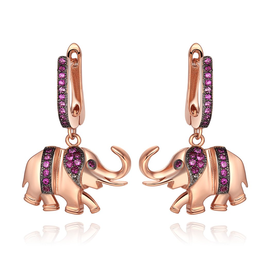 Lucky Cute Trunk Up Elephant Charms Amulets Royal Pink Sparkling Crystals Gold-Tone Earrings