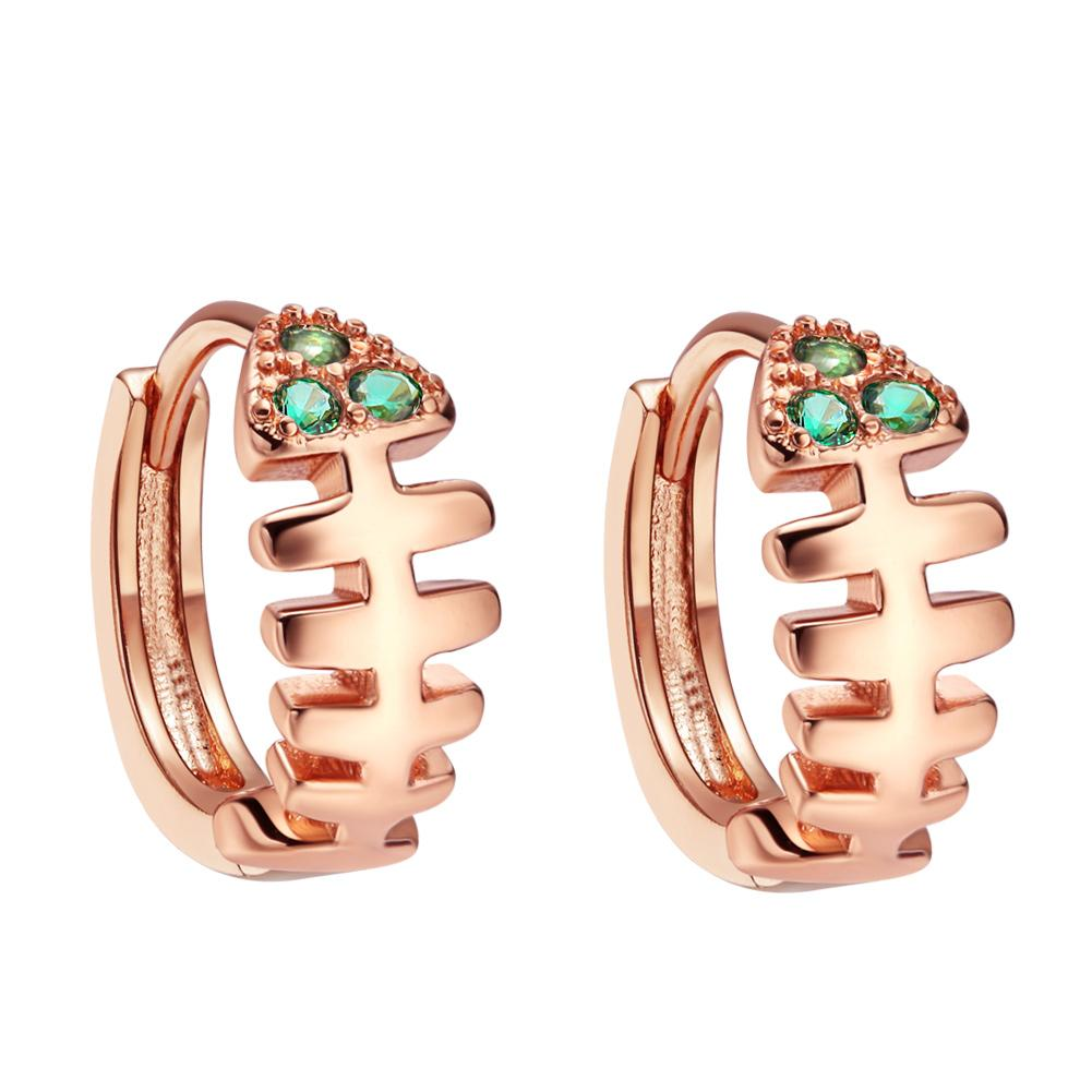 Funky Cute Small Fish Bone Lucky Charms Gold-Tone Cuff Style Green Sparkling Crystals Earrings