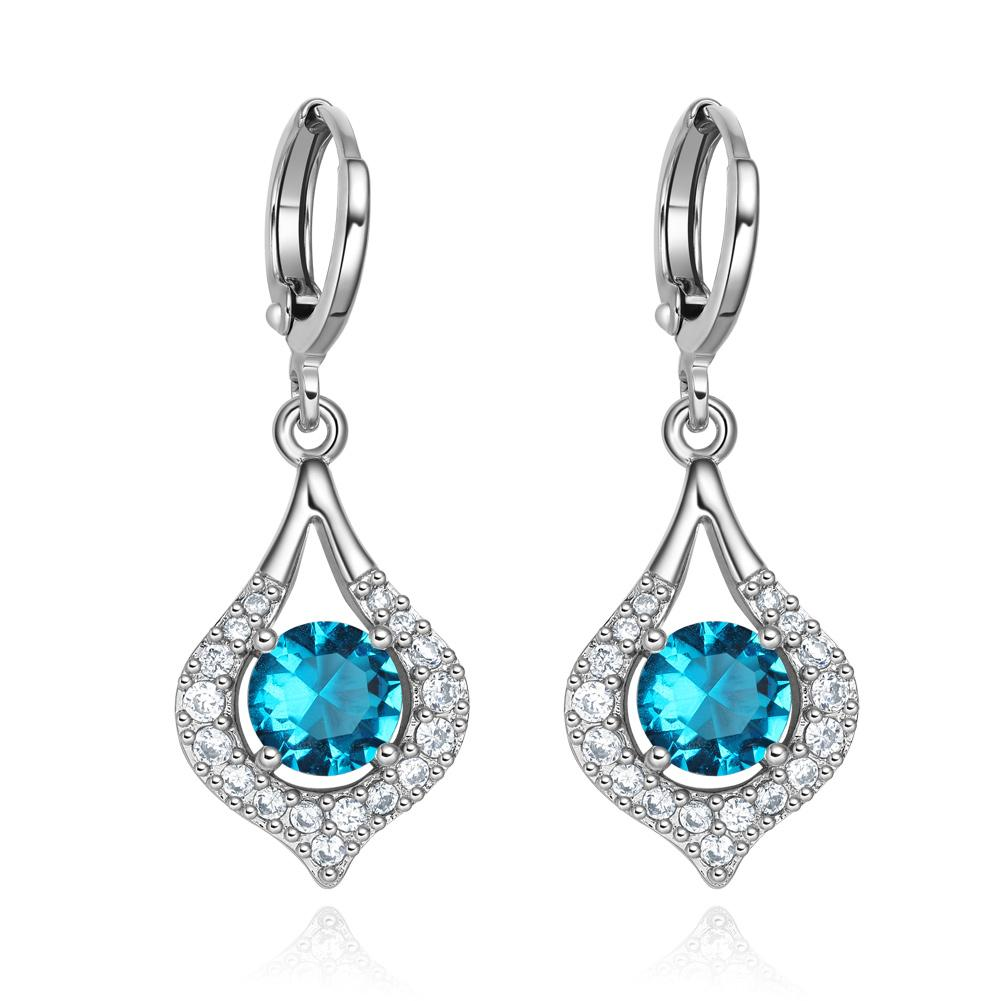 Fancy Unique Magical Teardrop Silver-Tone Sky Blue White Sparkling Crystals Lucky Charms Earrings