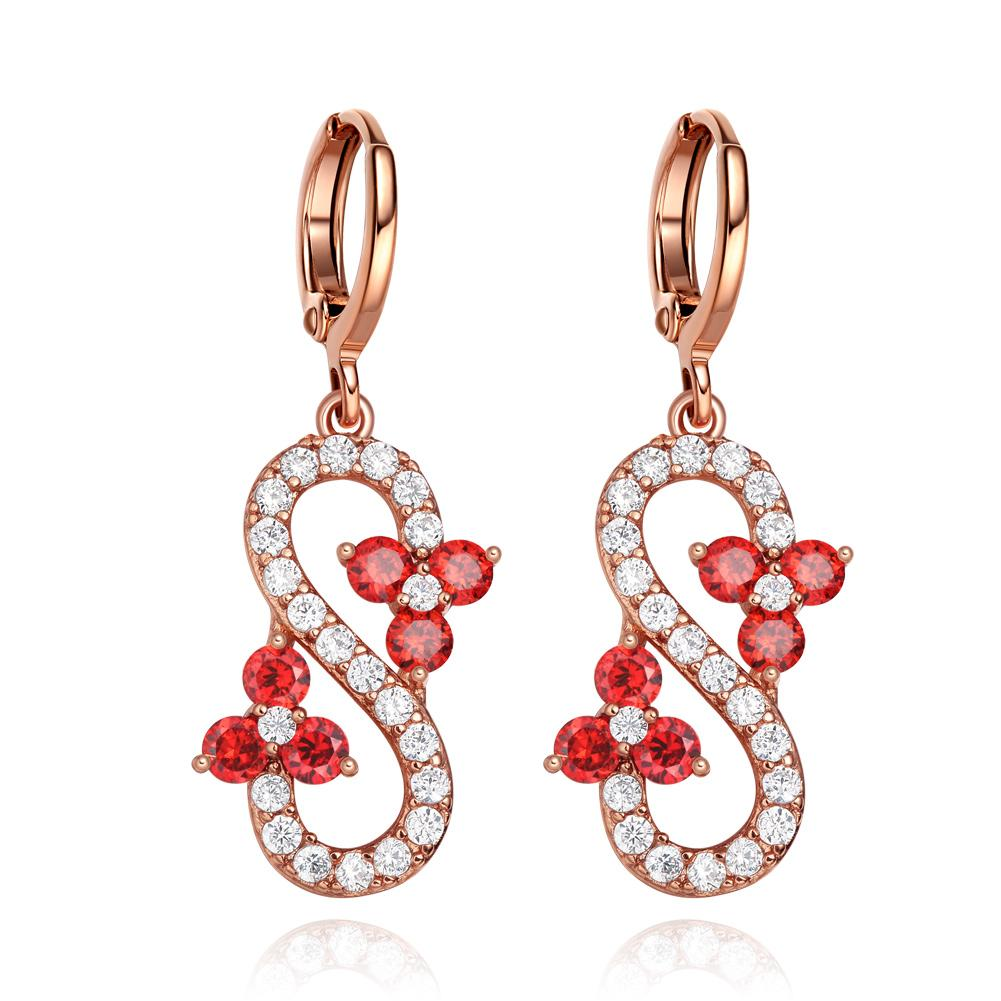Fancy Magical Infinity Positive Powers Gold-Tone Cherry Red White Crystals Lucky Charm Earrings