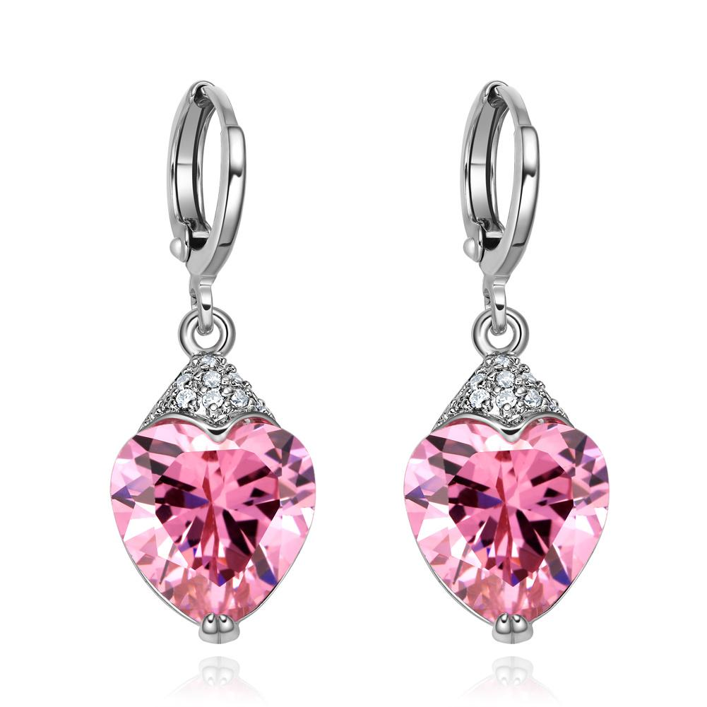 Fancy Magical Pink Hearts Lucky Charms Amulets with Cross Style Back Setting Crystals Earrings