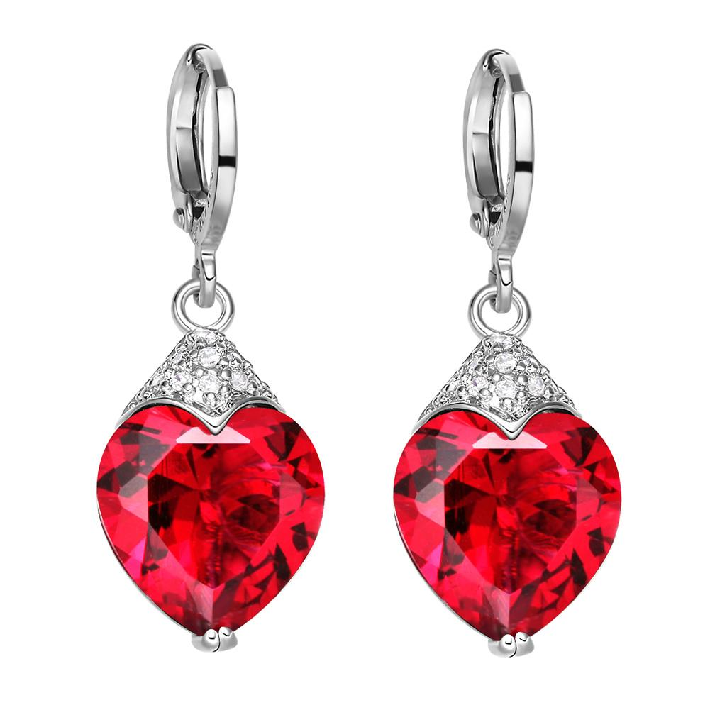 Fancy Magic Royal Red Hearts Love Amulets Silver-Tone Cross Style Back Setting Crystal Earrings