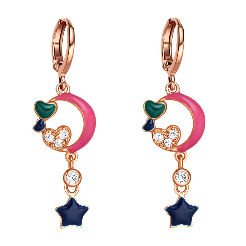I Love You to the Moon and Back Gold-Tone Hearts Ocean Blue Pink Royal Green Accents Earrings