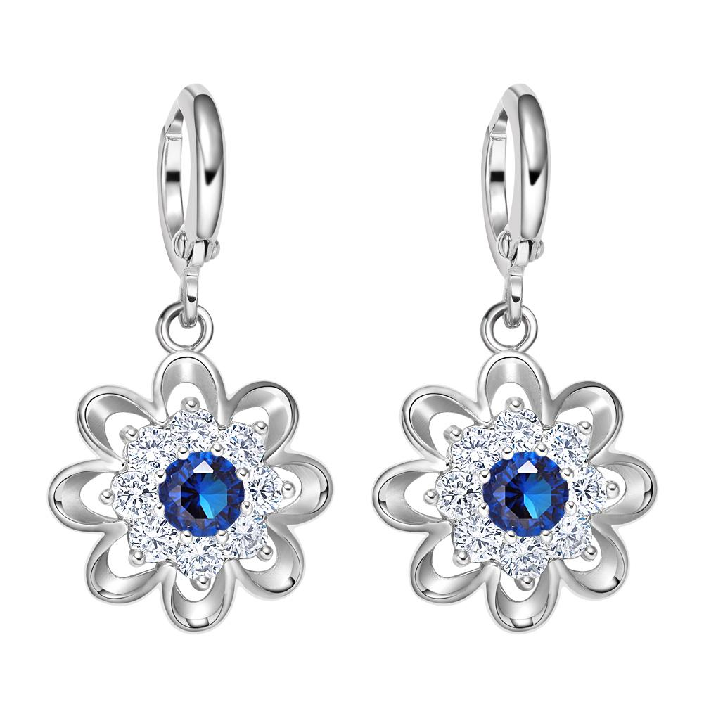 Fancy Magical Sunflower Positive Energy Charms Silver-Tone Royal Blue Crystals Amulet Earrings