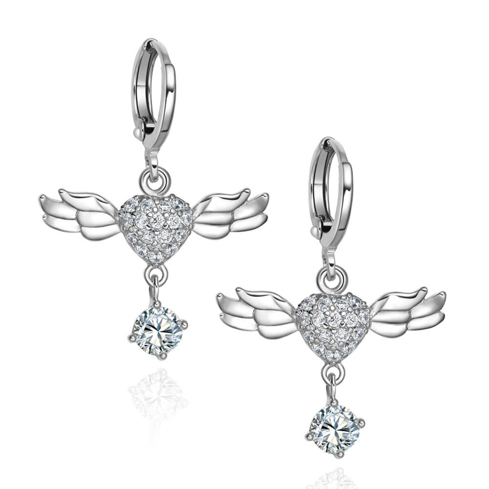 Magical Unique Angel Wings Hearts Amulets Snow White Crystals Silver-Tone Fashion Earrings
