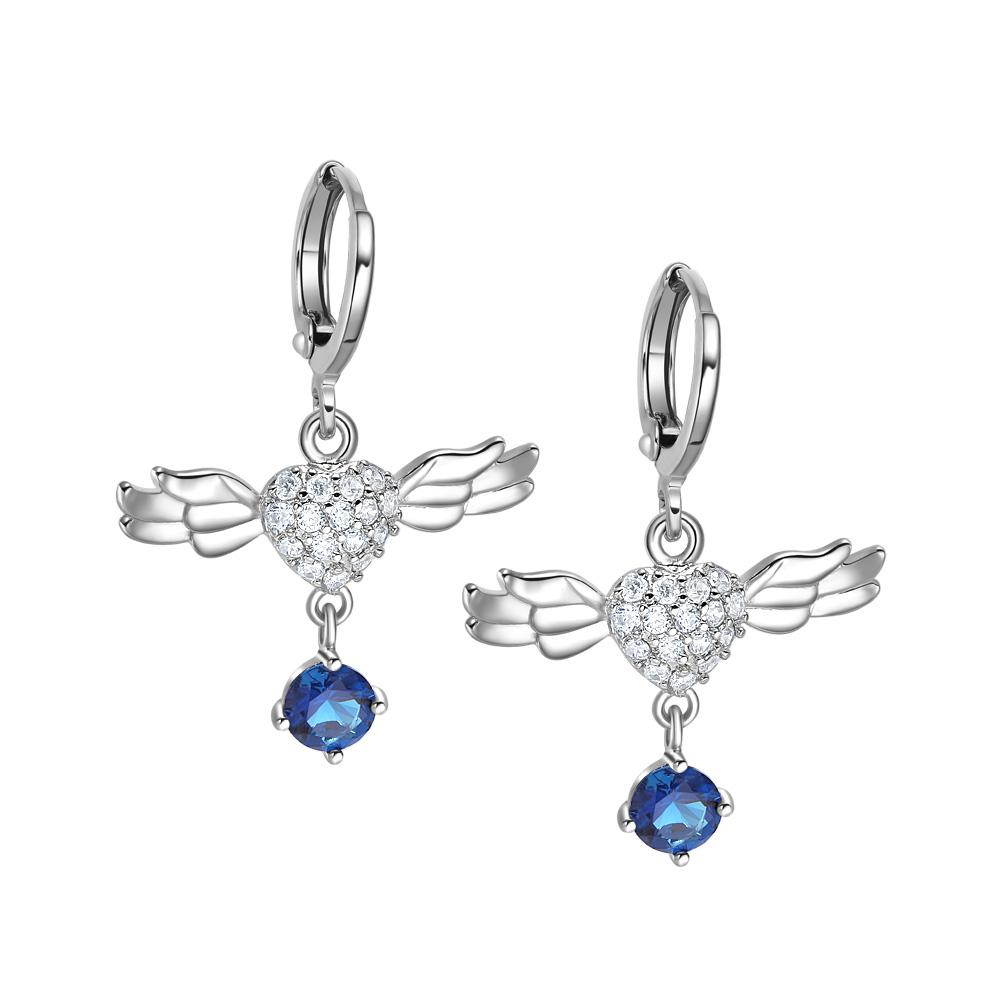 Magic Unique Angel Wings Hearts Amulets Royal Blue White Sparkling Crystals Silver-Tone Earrings