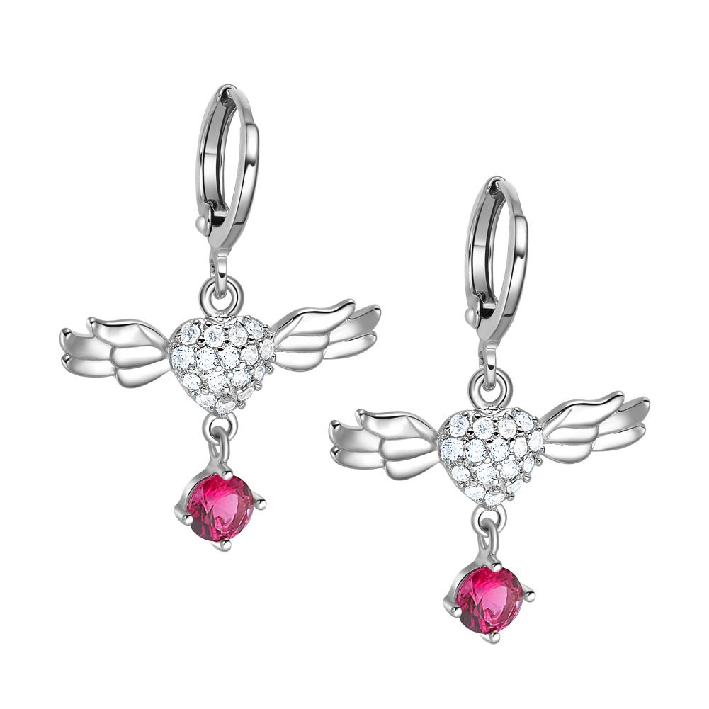 Magic Unique Angel Wings Hearts Amulets Royal Pink White Sparkling Crystals Silver-Tone Earrings