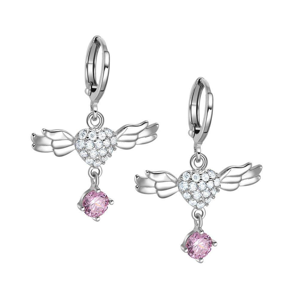 Magic Unique Angel Wings Hearts Amulets Sweet Pink White Sparkling Crystals Silver-Tone Earrings