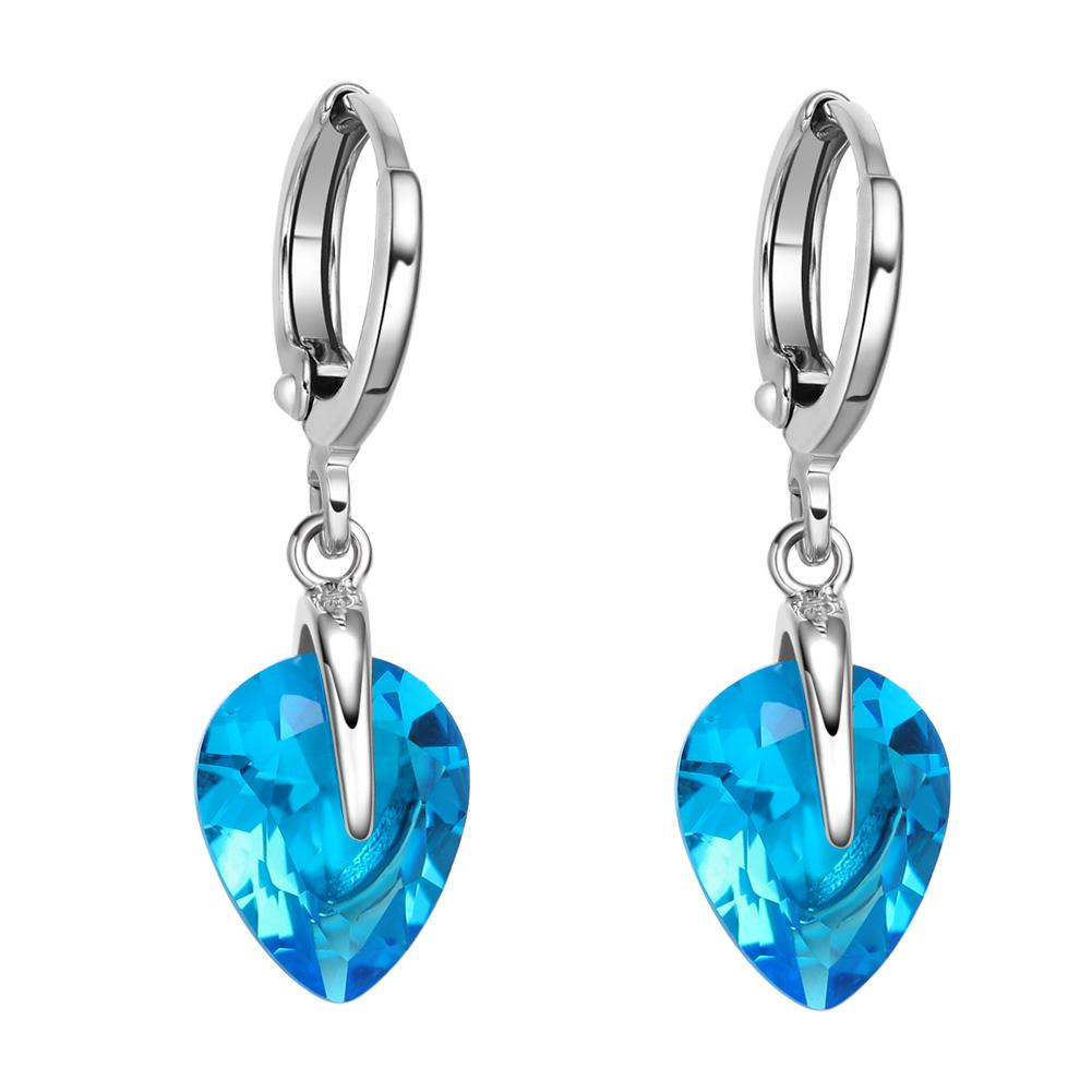 Beautiful Cute Teardrop Style Hearts Lucky Charms Silver-Tone Aqua Blue Crystals Magic Earrings