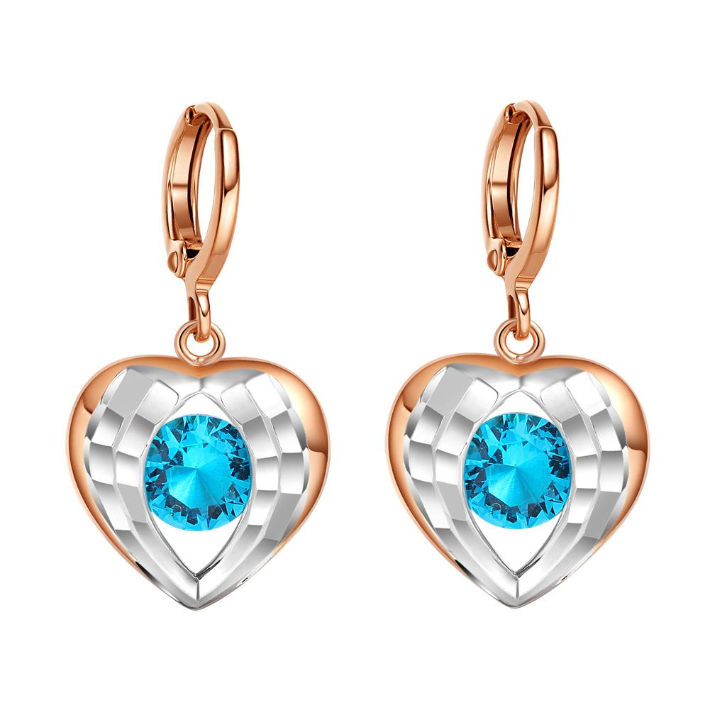 Angel Wings Forming Unique Heart Lucky Charm Gold-Silver-Tone Blue Sparkling Crystals Earrings