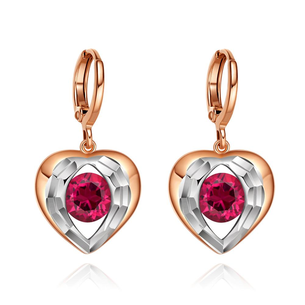 Angel Wings Forming Unique Heart Lucky Charm Gold-Silver-Tone Magic Red Sparkling Crystals Earrings