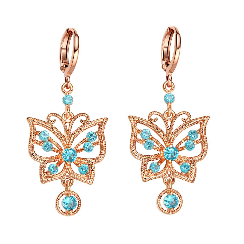 Fancy Beautiful Magic Butterflies Lucky Charms Amulets Gold-Tone Sky Blue Crystals Earrings
