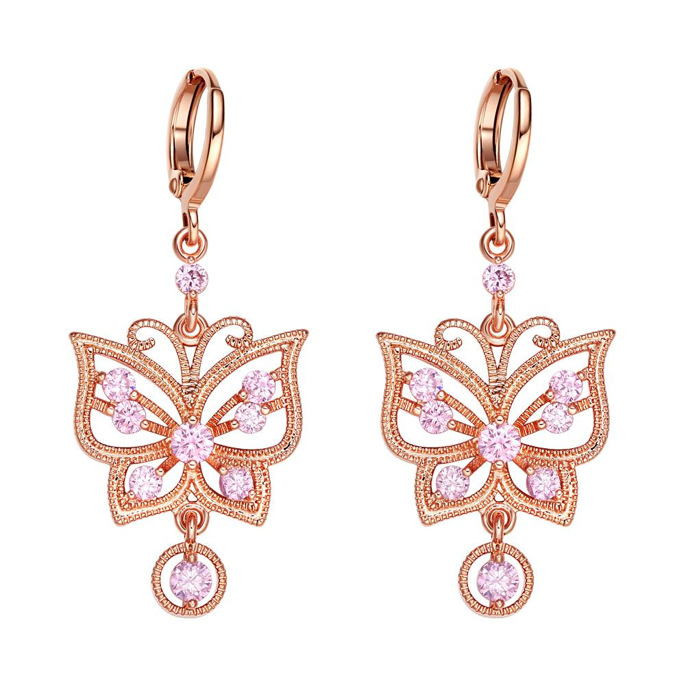 Fancy Beautiful Magic Butterflies Lucky Charm Amulet Gold-Tone Sweet Pink Crystals Earrings