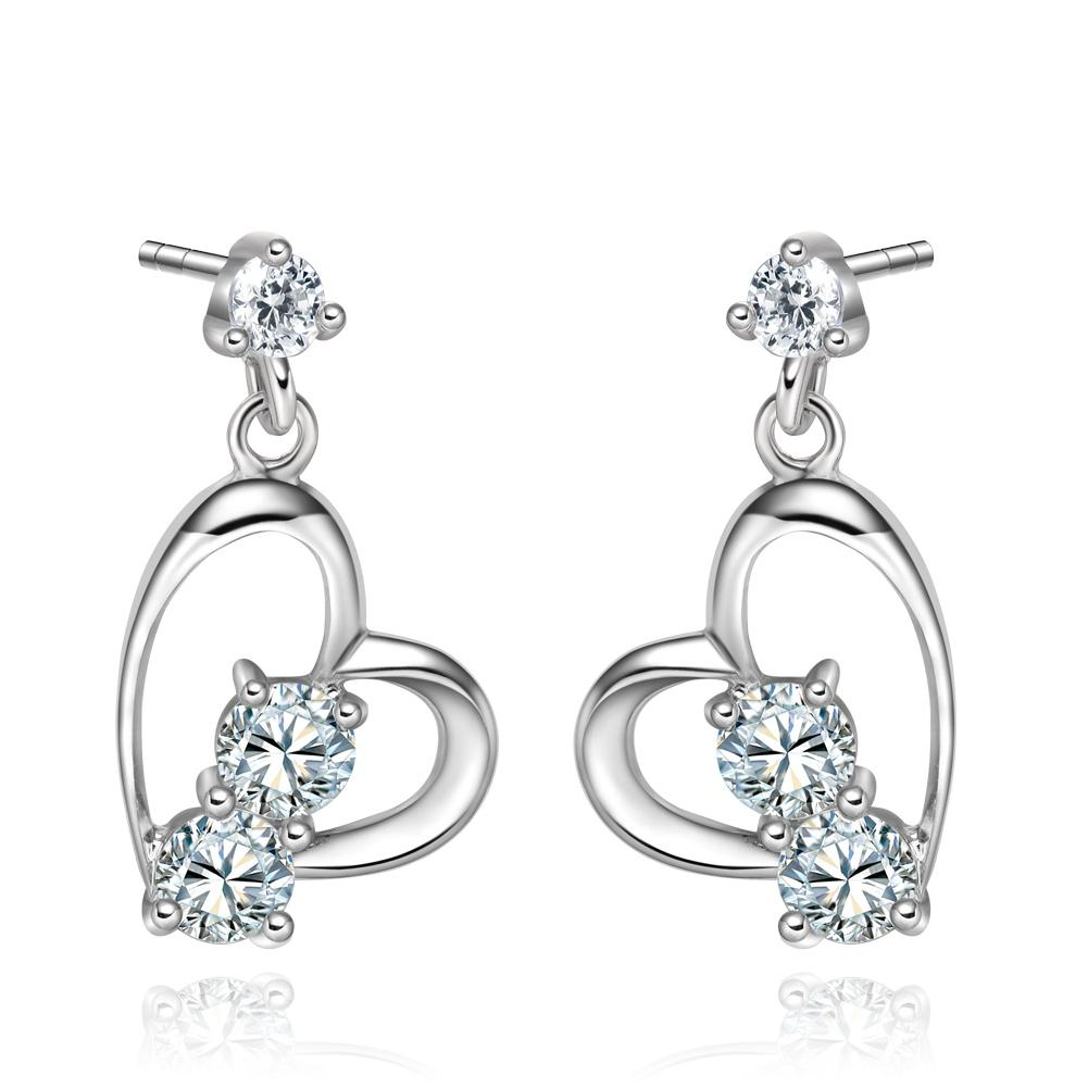 Infinite Powers of Love Uniquely Shaped Heart Amulets Snow White Sparkling Crystals Stud Earrings