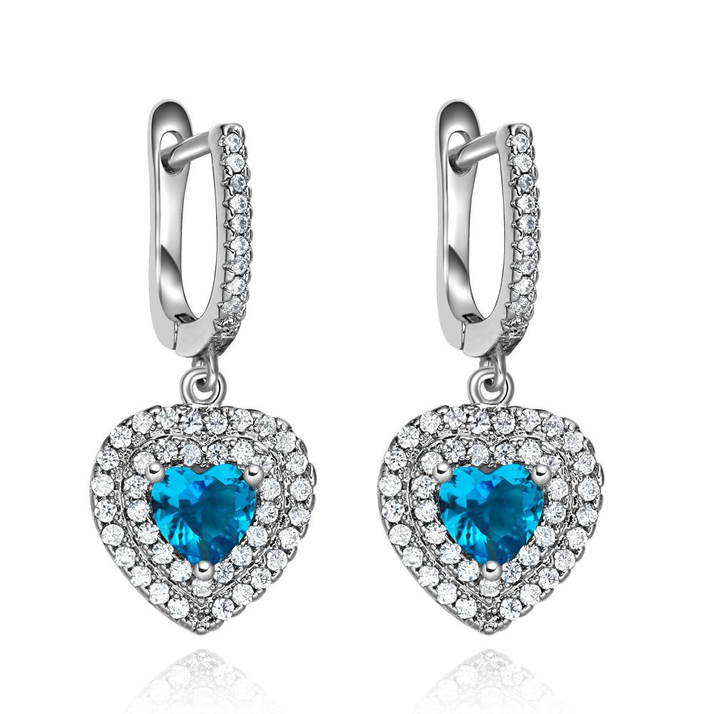 Magical Ocean Powers Forces Hearts Amulets Sky Blue Snow White Crystals Fashion Earrings