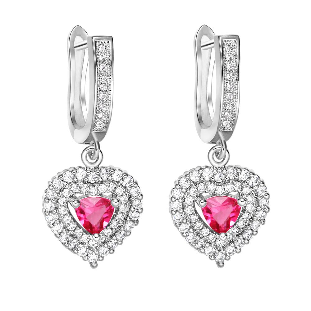 Magical Hearts Love Powers Amulets Silver-Tone Royal Pink Snow White Crystals Fashion Earrings