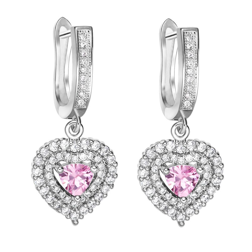 Magical Hearts Love Powers Amulets Silver-Tone Sweet Pink Snow White Crystals Fashion Earrings