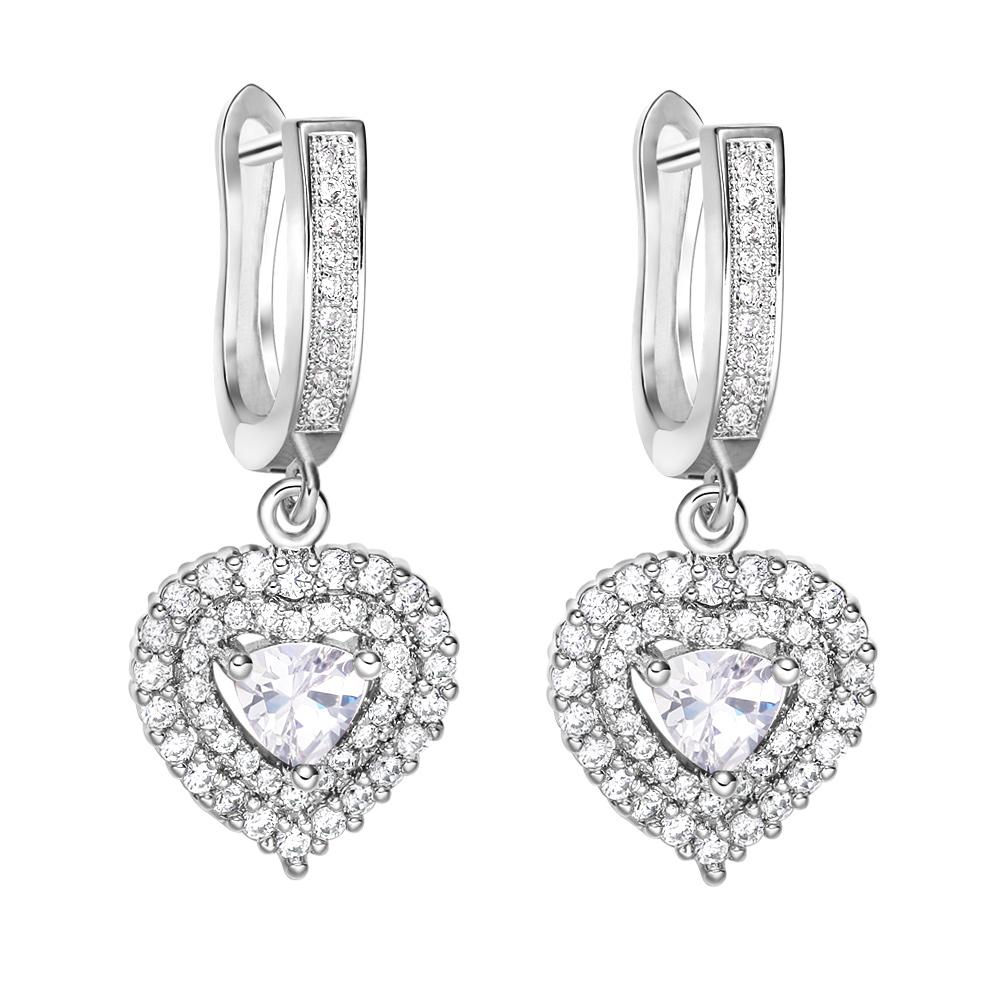 Magical Hearts Love Powers Amulets Silver-Tone Snow White Crystals FashiLucky Charm Earrings