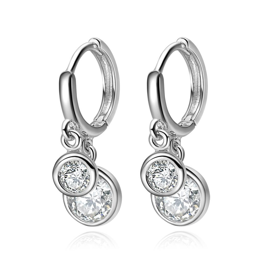 Cute Beautiful Double Lucky Charms Silver-Tone Stud Style White Sparkling Crystals Magic Earrings